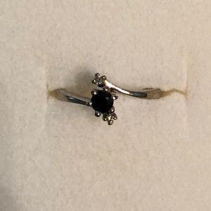 Jewelry - 10k White Gold Sapphire & Diamond Ring, Size 6 1/2